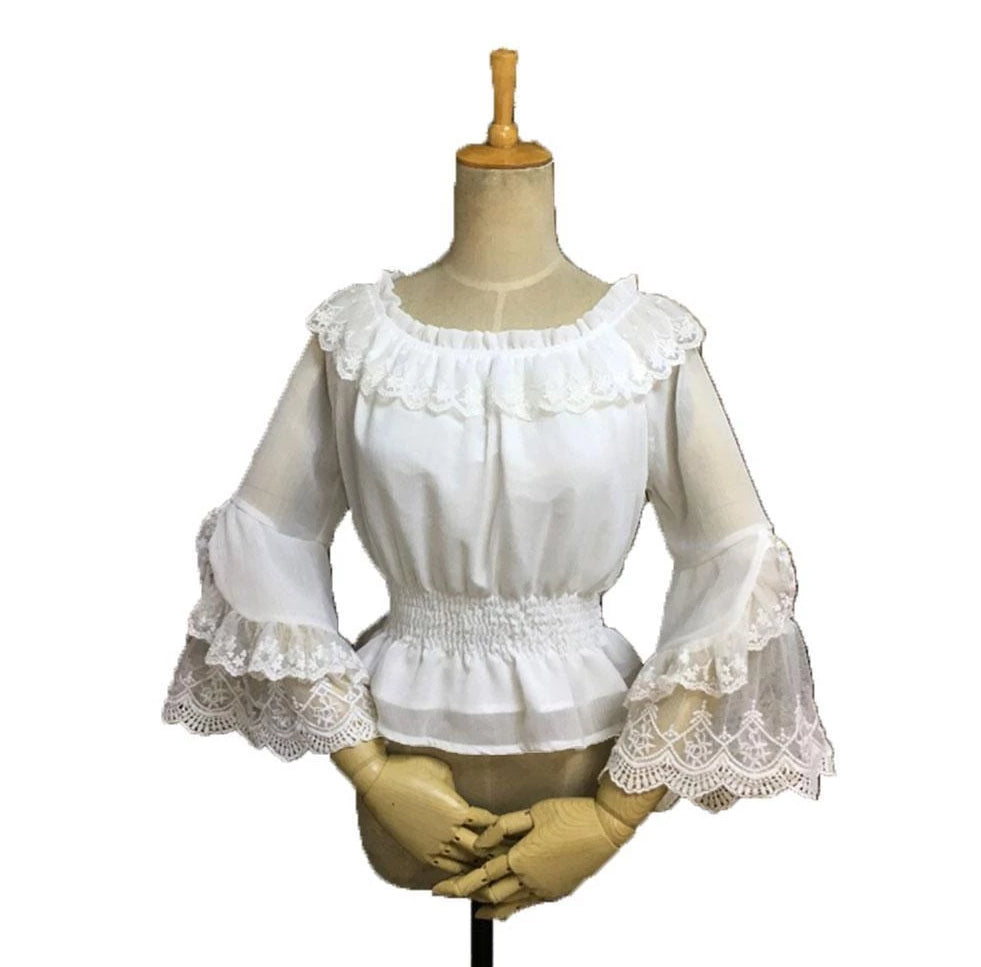 Lace Trimmed Flare Sleeve Lolita Blouse Sissy Panty Shop