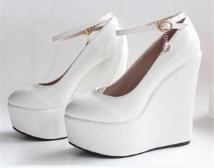 """Sissy Lucy"" Wedge Pumps Sissy Panty Shop WHITE 11"