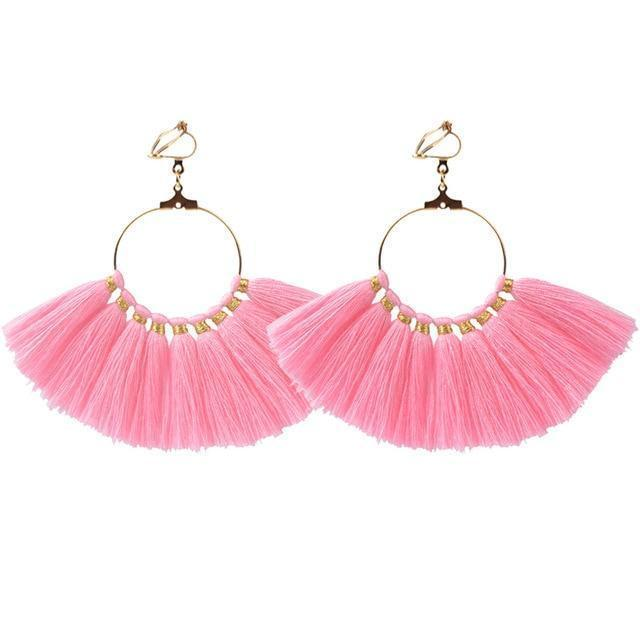 Fan Shaped Pink Tassel Earrings Sissy Panty Shop