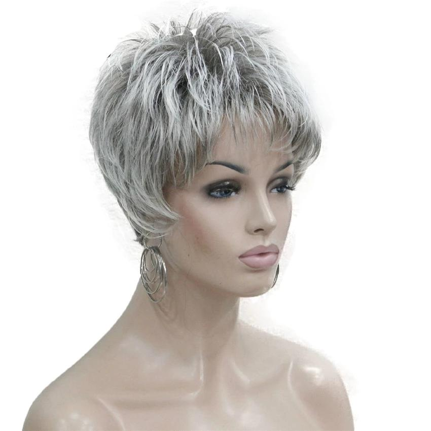 Short Layered Grey Silver Mature Wig Sissy Panty Shop