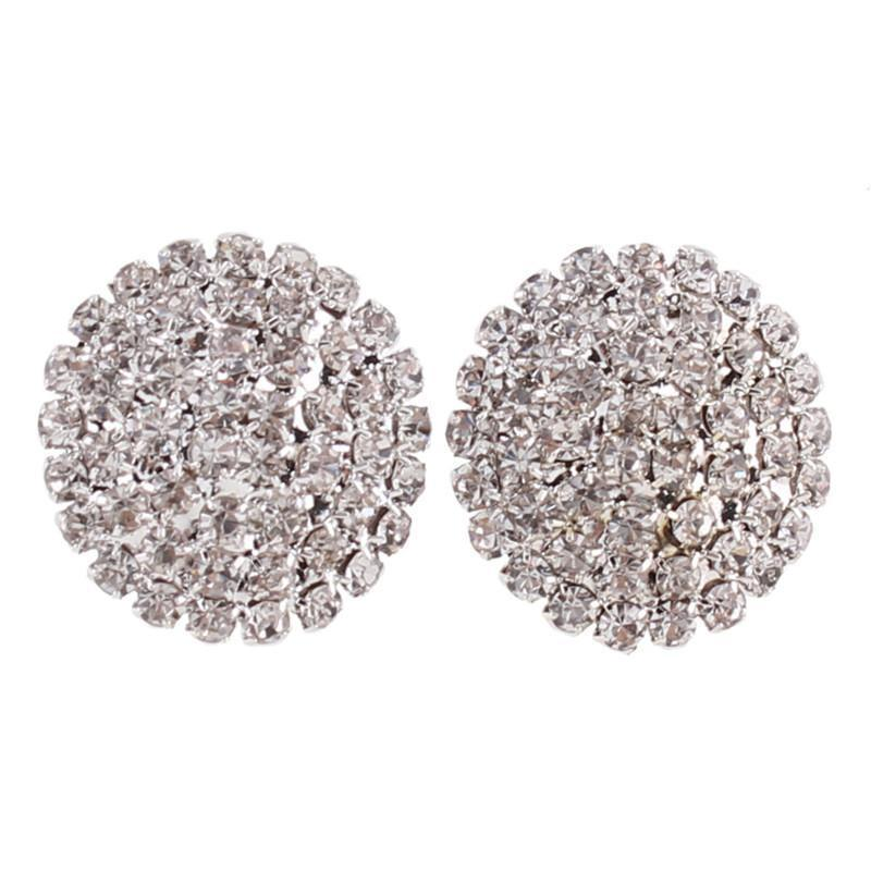 Rhinestone Large Round  Clip on Earrings