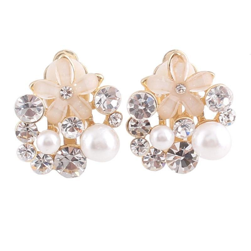 Rhinestone Simulated Pearl Clip on Earrings Sissy Panty Shop White