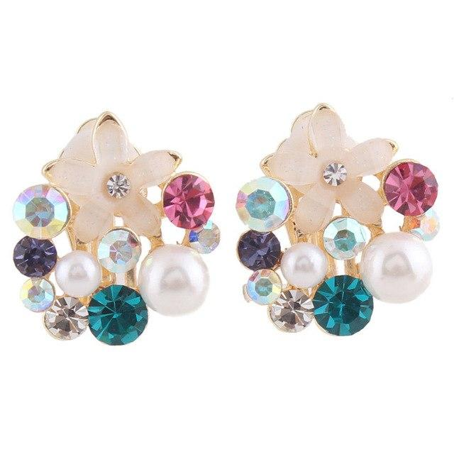 Rhinestone Simulated Pearl Clip on Earrings