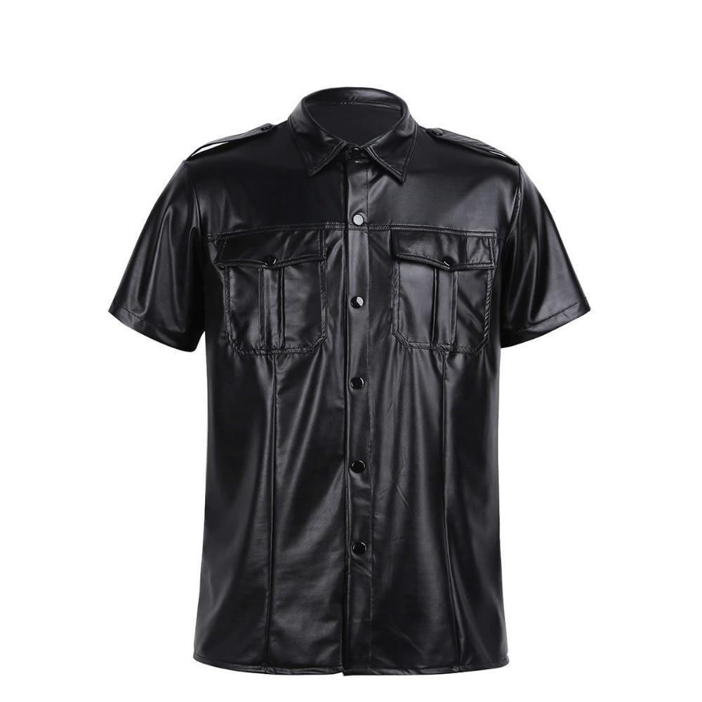 Faux Leather Short Sleeve Shirt Sissy Panty Shop