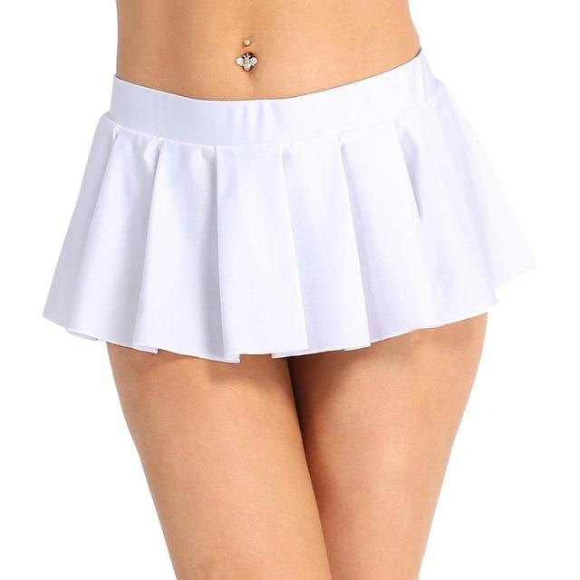 Schoolgirl Pleated Mini Skirt Sissy Panty Shop White M