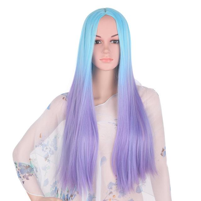 Bimbo Jane Wig Sissy Panty Shop blue ombre purple 24inches