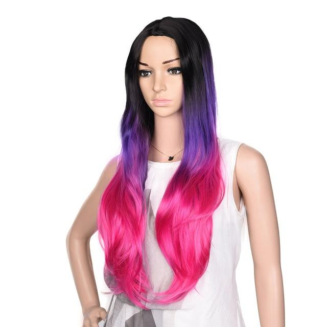 Bimbo Jane Wig Sissy Panty Shop ombre purple pink 24inches