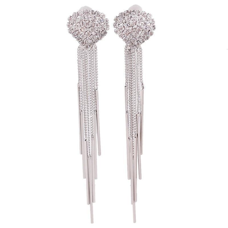 Long Tassel Rhinestone Clip on Earrings Sissy Panty Shop Silver