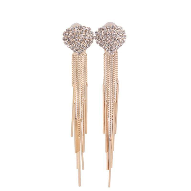 Long Tassel Rhinestone Clip on Earrings Sissy Panty Shop Gold