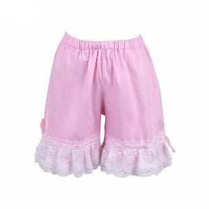 Bow Lace Lolita Cotton Bloomers Sissy Panty Shop pink XS