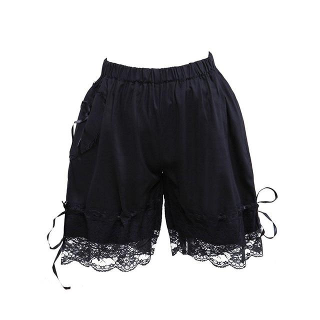 Bow Lace Lolita Cotton Bloomers Sissy Panty Shop black1 XS