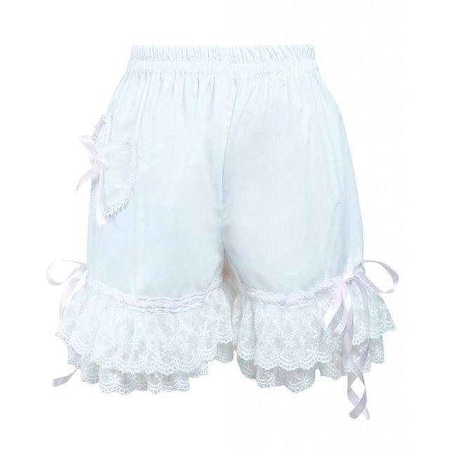 Bow Lace Lolita Cotton Bloomers Sissy Panty Shop white XS