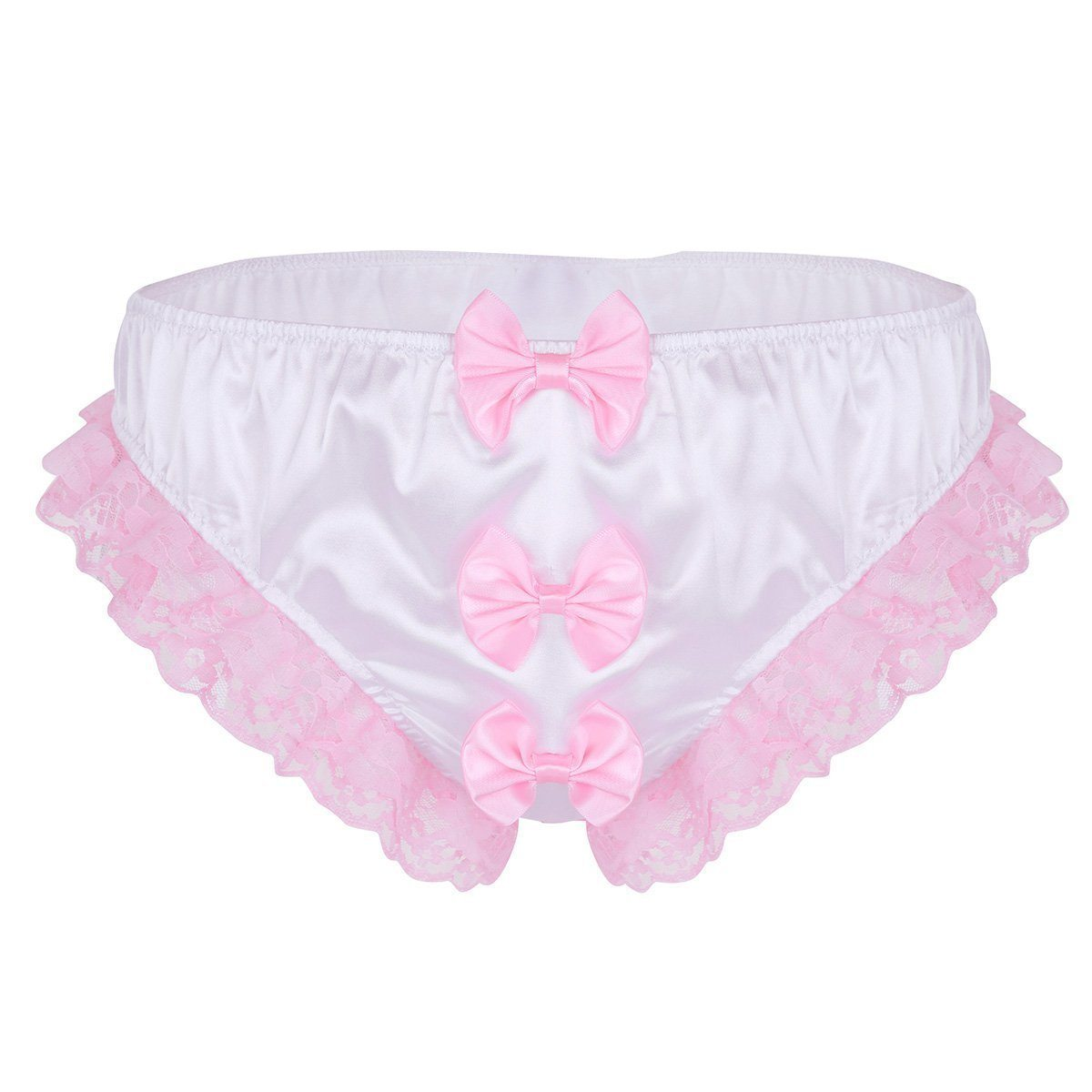 Shiny Ruffles Floral Lace with Bowknots Briefs