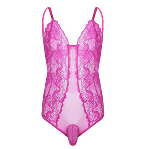 One-Piece Sheer Floral Lace Bodysuit Sissy Panty Shop Rose M