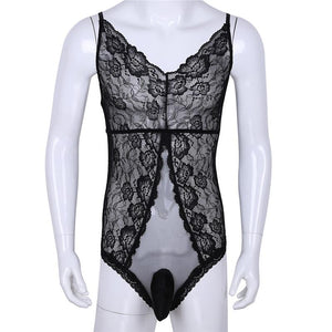 One-Piece Sheer Floral Lace Bodysuit