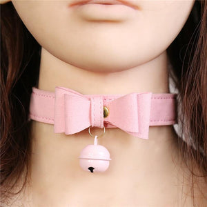 Pink Bow Leather Sissy Slave Collar Sissy Panty Shop