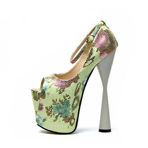 """Shemale Nancy"" Platform Pumps Sissy Panty Shop Army Green 7"