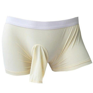 Open Sheath Stretch Boxer Brief Sissy Panty Shop Beige