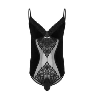 See-through Floral Lace Velvet Bodysuit