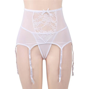 High Waist Lace Garter Belt Sissy Panty Shop white garter M