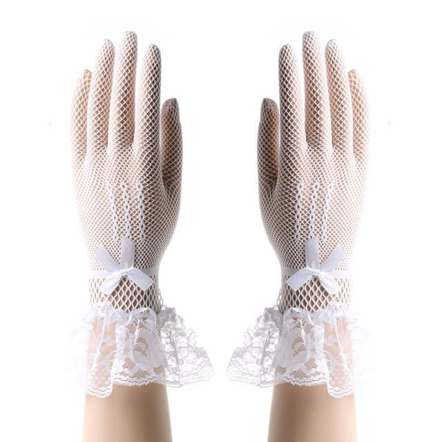 """Sissy Madonna"" Bowknot Lace Gloves Sissy Panty Shop White One Size"