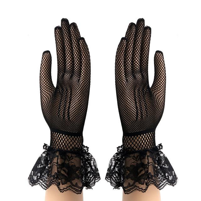 """Sissy Madonna"" Bowknot Lace Gloves Sissy Panty Shop Black One Size"