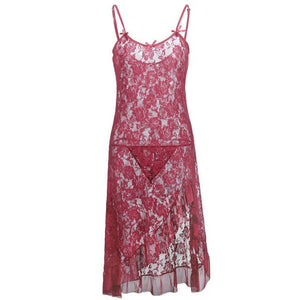Long Floral Lace Nightgown Sissy Panty Shop wine red XXL