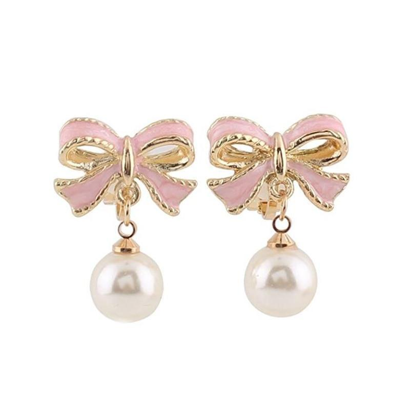 Simulated Pearl Pink Bowknot Clip on Earrings