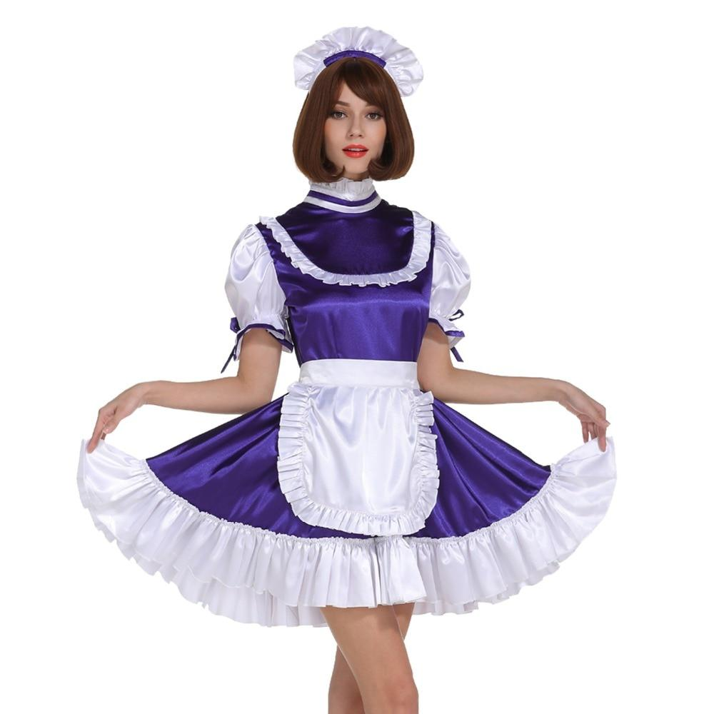 Sissy Girl Maid Frilly Purple Lockable Dress