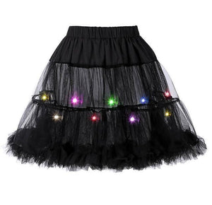 2 Layered Sissy Petticoat with Lights Sissy Panty Shop Black One Size