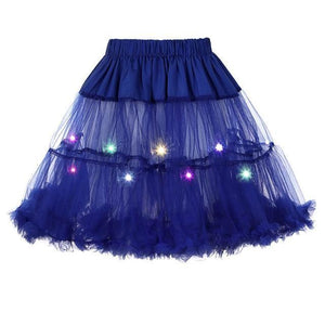 2 Layered Sissy Petticoat with Lights Sissy Panty Shop Blue One Size