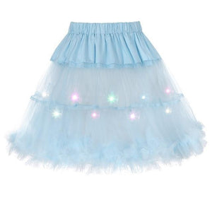 2 Layered Sissy Petticoat with Lights Sissy Panty Shop Sky blue One Size