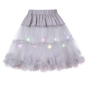 2 Layered Sissy Petticoat with Lights Sissy Panty Shop Gray One Size