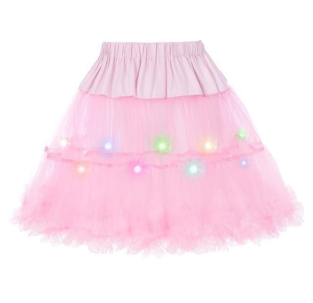 2 Layered Sissy Petticoat with Lights Sissy Panty Shop Pink One Size