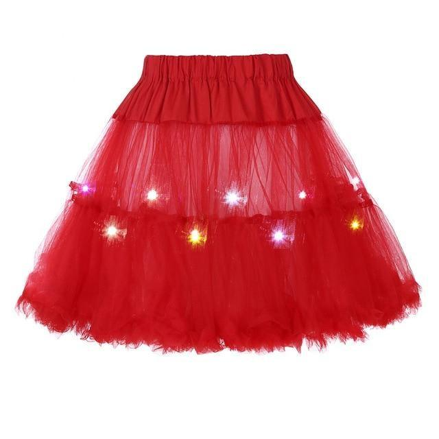 2 Layered Sissy Petticoat with Lights Sissy Panty Shop Red One Size