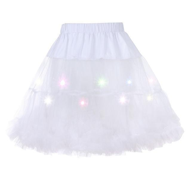 2 Layered Sissy Petticoat with Lights Sissy Panty Shop White One Size