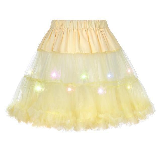 2 Layered Sissy Petticoat with Lights Sissy Panty Shop YELLOW One Size