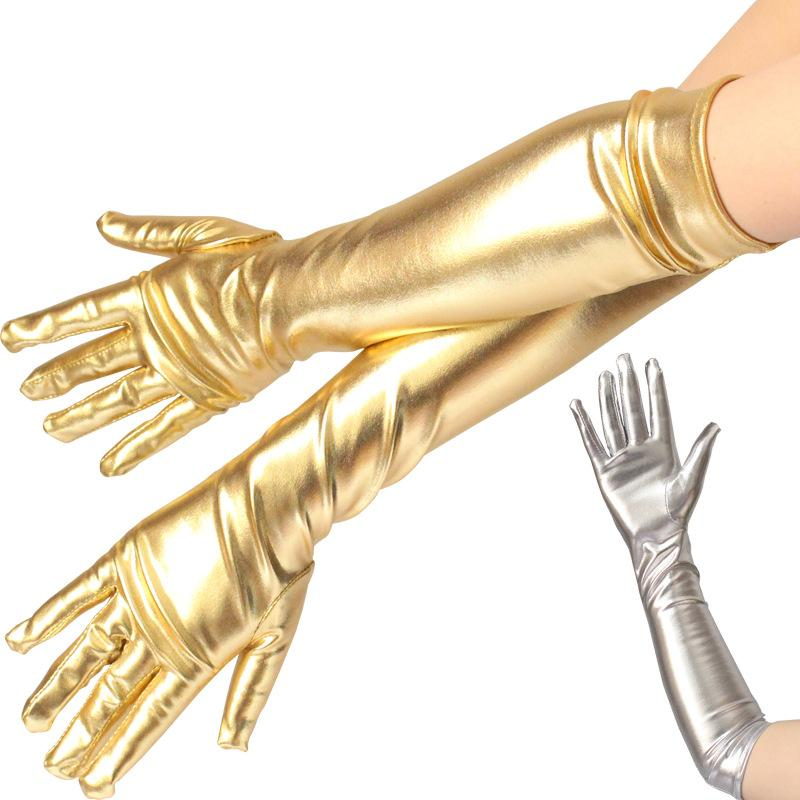 Elbow Length Long Metallic Gloves