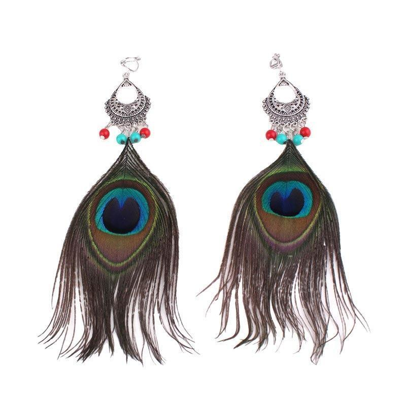 Peacock Feather Clip On Earrings Sissy Panty Shop