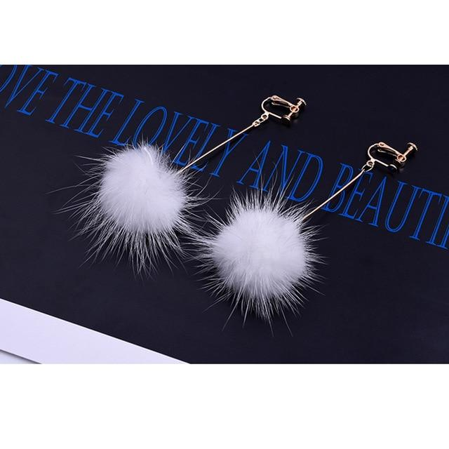 Mink Hair Clip On Earrings Sissy Panty Shop white