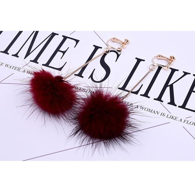Mink Hair Clip On Earrings Sissy Panty Shop wine red