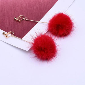 Mink Hair Clip On Earrings Sissy Panty Shop red