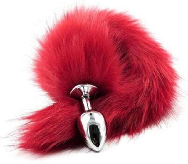 Faux Fox Tail Butt Plug Sissy Panty Shop Red