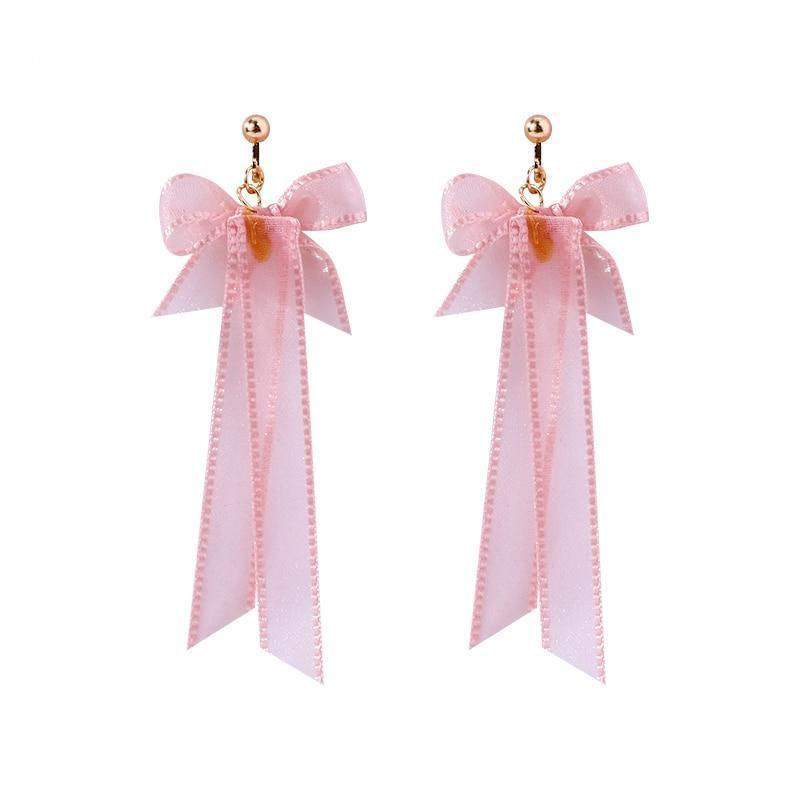 Pink Bow Clip On Earrings