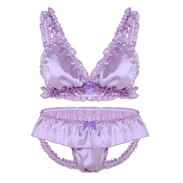 """Sissy Rita"" Satin Lingerie Set Sissy Panty Shop Light Purple M"