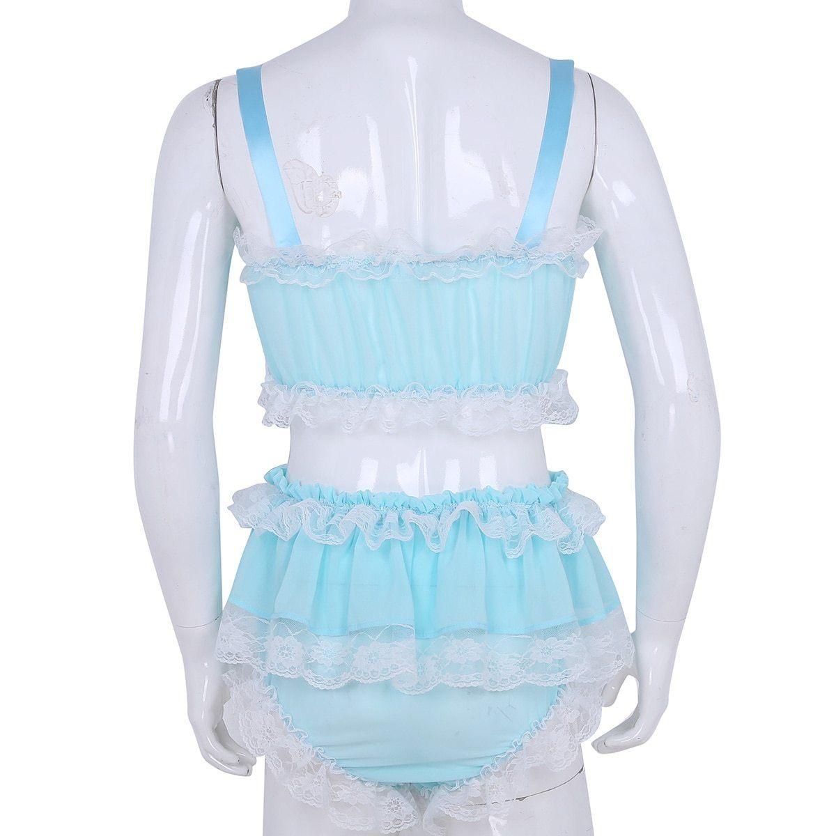 Ruffled Lace & Bowknots Lingerie Set Sissy Panty Shop
