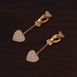 Crystal Heart Clip On Earrings Sissy Panty Shop gold