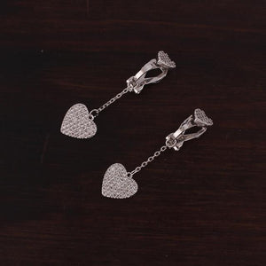 Crystal Heart Clip On Earrings Sissy Panty Shop platinum
