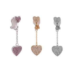 Crystal Heart Clip On Earrings Sissy Panty Shop