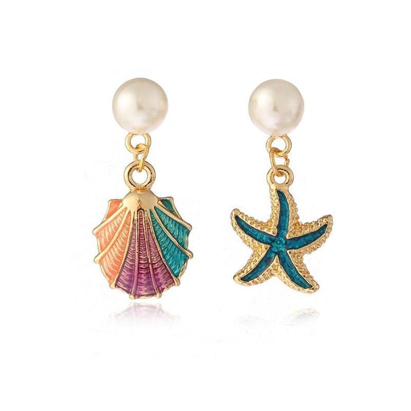 Sea Shell Star Clip on Earrings Sissy Panty Shop